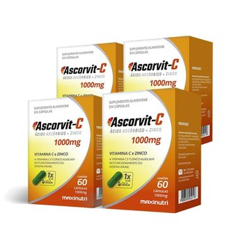 Kit 04 AscorVit Vitamina C 1000mg + Zinco 60 Caps Maxinutri