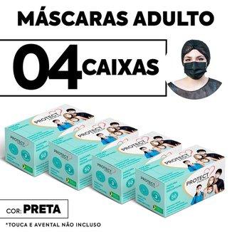 Kit 04 caixas Mascara Descartavel Cirurgica Preta c/50 cada