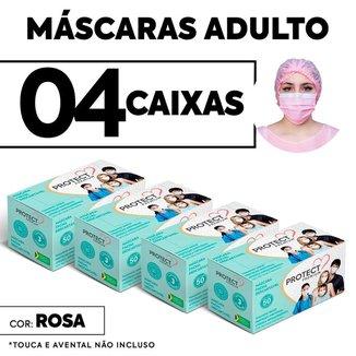 Kit 04 caixas Mascara Descartavel Cirurgica Rosa c/50 Und cada