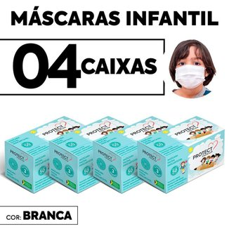 Kit 04 CX Mascara Descartavel Cirurgica Branca Kids c/50 Und