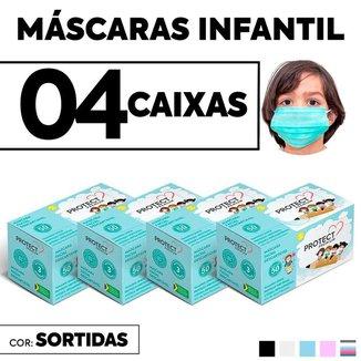Kit 04 CX Mascara Descartavel Cirurgica Cor Sortida Kids 50