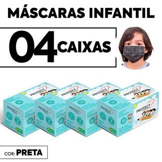 Kit 04 CX Mascara Descartavel Cirurgica Preta Kids c/50 Und