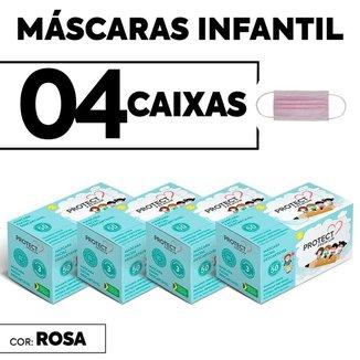 Kit 04 CX Mascara Descartavel Cirurgica Rosa Kids c/50 cada