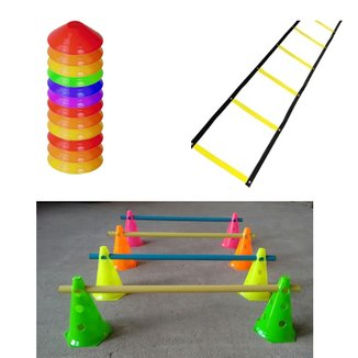 Kit 1 Escada + 10 Half Cone + 8 Cones Com Barreira