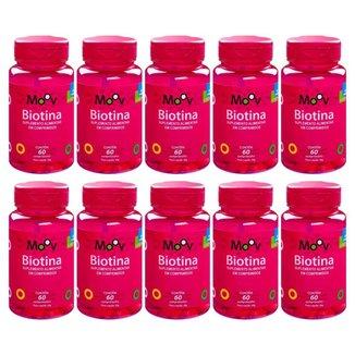 Kit 10 Biotina Firmeza Crescimento Saúde Cabelos Pele Unhas 60 comprimidos