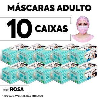 Kit 10 caixas Mascara Descartavel Cirurgica Rosa c/50 Und cada