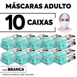 Kit 10 CX Mascara Descartavel Cirurgica Branca c/50 Und cada