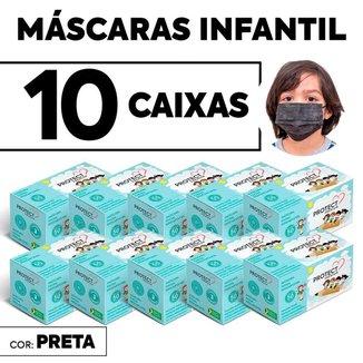 Kit 10 CX Mascara Descartavel Cirurgica Preta Kids c/50 Und