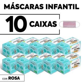 Kit 10 CX Mascara Descartavel Cirurgica Rosa Kids c/50 cada