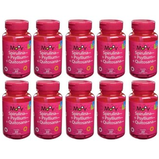 Kit 10 SPIRULINA + PSYLLIUM + QUITOSANA MOOV 60 comprimidos