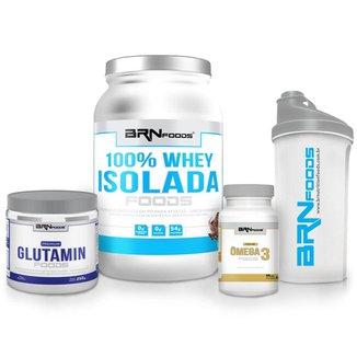 Kit 100% Isolada 900g + Premium Glutamin 250g + Ômega 3 60 caps + CoqueteleiraBRNfoods