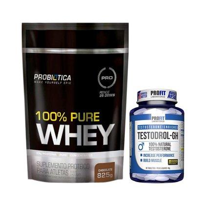 Kit 100% Pure Whey 825g Refil Probiotica + Testodrol-gh Profit
