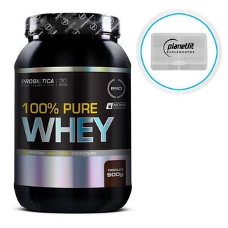 Kit 100% Pure Whey 900g Probiótica + Porta Cápsulas 4 Compartimentos Planet Fit