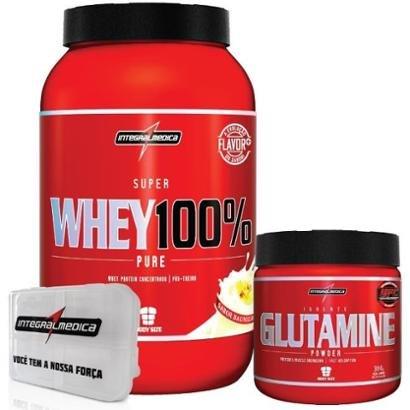 Kit – 100% Whey + Glutamina + Porta Caps – Integralmédica