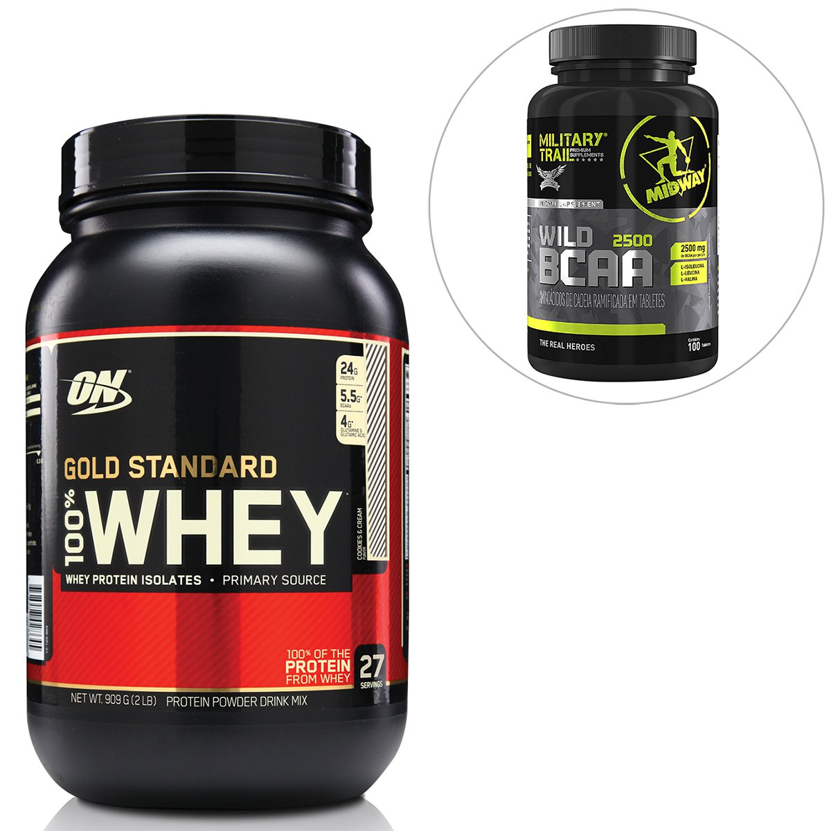 26a493e11 Kit 100% Whey Gold Standard 2 Lbs - Optimum Nutrition + BCAA Wild 100 Tabs  Military Trail – Midway