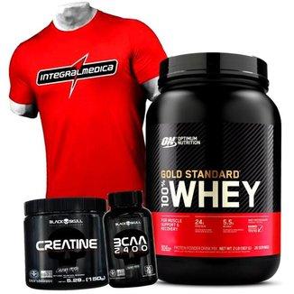 Kit 100% Whey Gold Standard Optimum Nutrition + Bcaa + Creatina + Camisa Vermelha