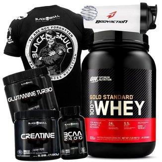 Kit 100% Whey Gold Standard Optimum Nutrition + Bcaa + Creatina + Glutamina + Camisa Preta