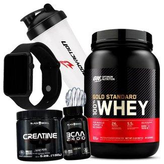 Kit 100% Whey Gold Standard Optimum Nutrition + Bcaa + Creatina + Relogio + Coq