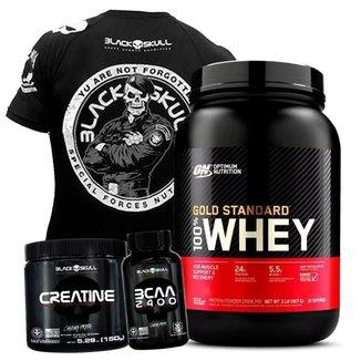 Kit 100% Whey Gold Standard Optimum Nutrition + Creatina + Bcaa + Camisa Preta