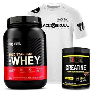 Kit 100% Whey Gold Standard Optimum Nutrition + Creatina Universal + Camisa Branca