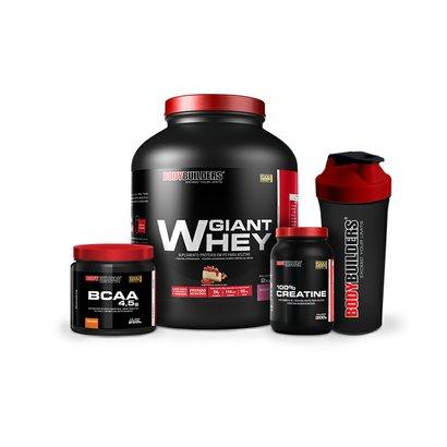 Kit 100% Whey Protein 2 Kg + BCAA 4,5 Mg 250 G + 100% Creatine 300 G + Coqueteleira – Bodybuilders