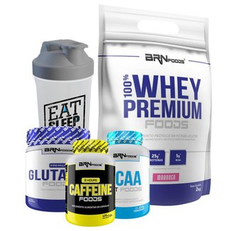 Kit 100% Whey Refil 2kg +Glutamin 250g + Cafeína 120cáps + BCAA 120cáps + Coqueteleira 600ml