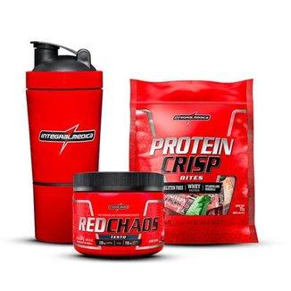 Kit 100km/h Protein Crisp,Red Chaos,Coqueteleira - Integralmedica