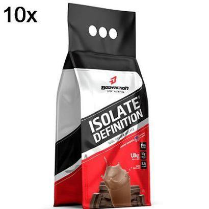 Kit 10X Whey Isolate Definition – 1800g Refil Chocolate – BodyAction