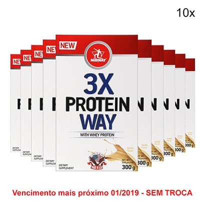 Kit 10x Whey Protein 3X Way Midway 300g