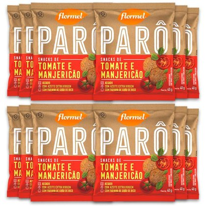 Kit 12 Biscoito de Polvilho Tomate e Manjericão Parô Flormel 40G