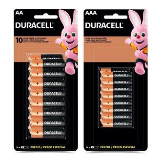 Kit 16 Pilhas Duracell Alcalina AA + 16 Pilhas Alcalina AAA