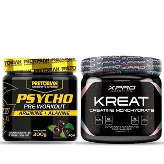 Kit 1x Pré Treino Psycho 300g - Pretorian + 1x Creatina 150g - XPRO Nutrition