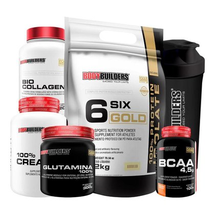 KIT 1x Six Gold 2kg+BCAA 4.5g 100g+Creatina 300g+Glutamina 300g+BioCollagen+Shaker-Bodybuilders