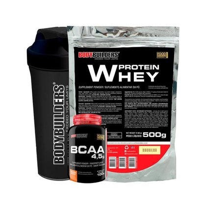 KIT 1x Whey Protein 500g + BCAA 4.5g 100g + Coqueteleira - Bodybuilders