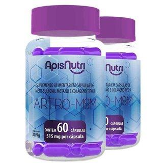 Kit 2 Artro MSM Metil Sulfonil + Colágeno tipo 2 Apisnutri 60 cápsulas