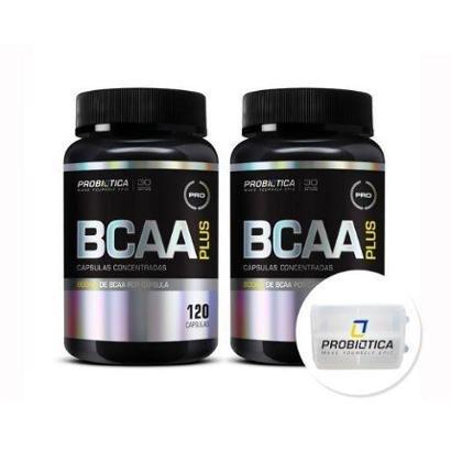 Kit 2 BCAA Plus – 120 Cápsulas + Porta Cáps – Probiótica