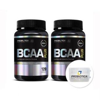 Kit 2 BCAA Plus - 120 Cápsulas + Porta Cáps - Probiótica
