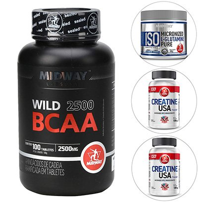 Kit 2 BCAA Wild + 2 Creatinas + Glutamina Midway