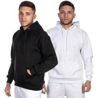 Kit 2 Blusa Moletom Masculino e Feminino liso sem estampa modelo canguru com bolso e capuz touca