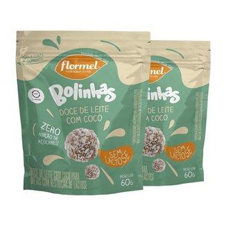 Kit 2 Bolinhas Flormel zero Lactose 60g - Doce de leite c/coco