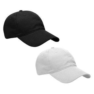 Kit 2 Bonés Aba Curva Curvada Resina Premium Liso Masculino Dad Hat Strapback Ajustável Fitão