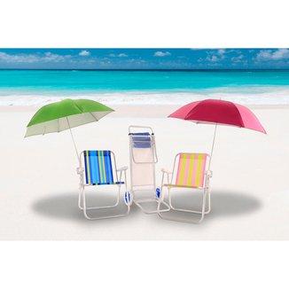 Kit 2 Cadeiras de Praia+2 Guarda Sol+ Carrinho Mesa Bel Lazer