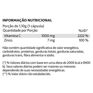 Kit 2 Caixas AscorVit C 1000mg Vitamina C e Zinco 60 Cápsulas Maxinutri