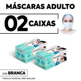 Kit 2 caixas Mascara Descartavel Cirurgica Branca c/50 cada
