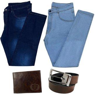 kit 2 Calça Jeans Masculina Skinny C Elastano + Carteira + Cinto