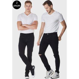 Kit 2 Calças HNO Jeans Premium Rasgada Skinny com Elastano Masculina