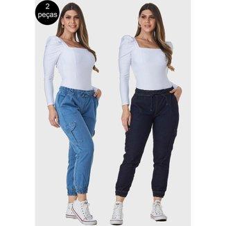 Kit 2 Calças Jogger HNO Jeans Bolso Lateral Azul