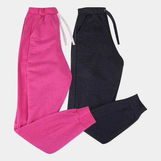 Kit 2 Calças Moletom Básicos Jogger Feminino - Pink+Preto