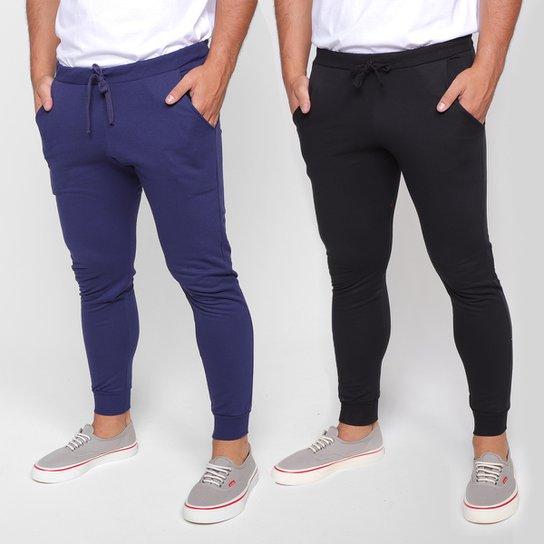 Kit 2 Calças Moletom Básicos Masculino - Preto+Azul