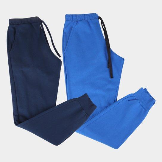 Kit 2 Calças Moletom Básicos Masculino - Azul+Azul claro